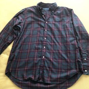 Ralph Lauren green plaid dress shirt size large